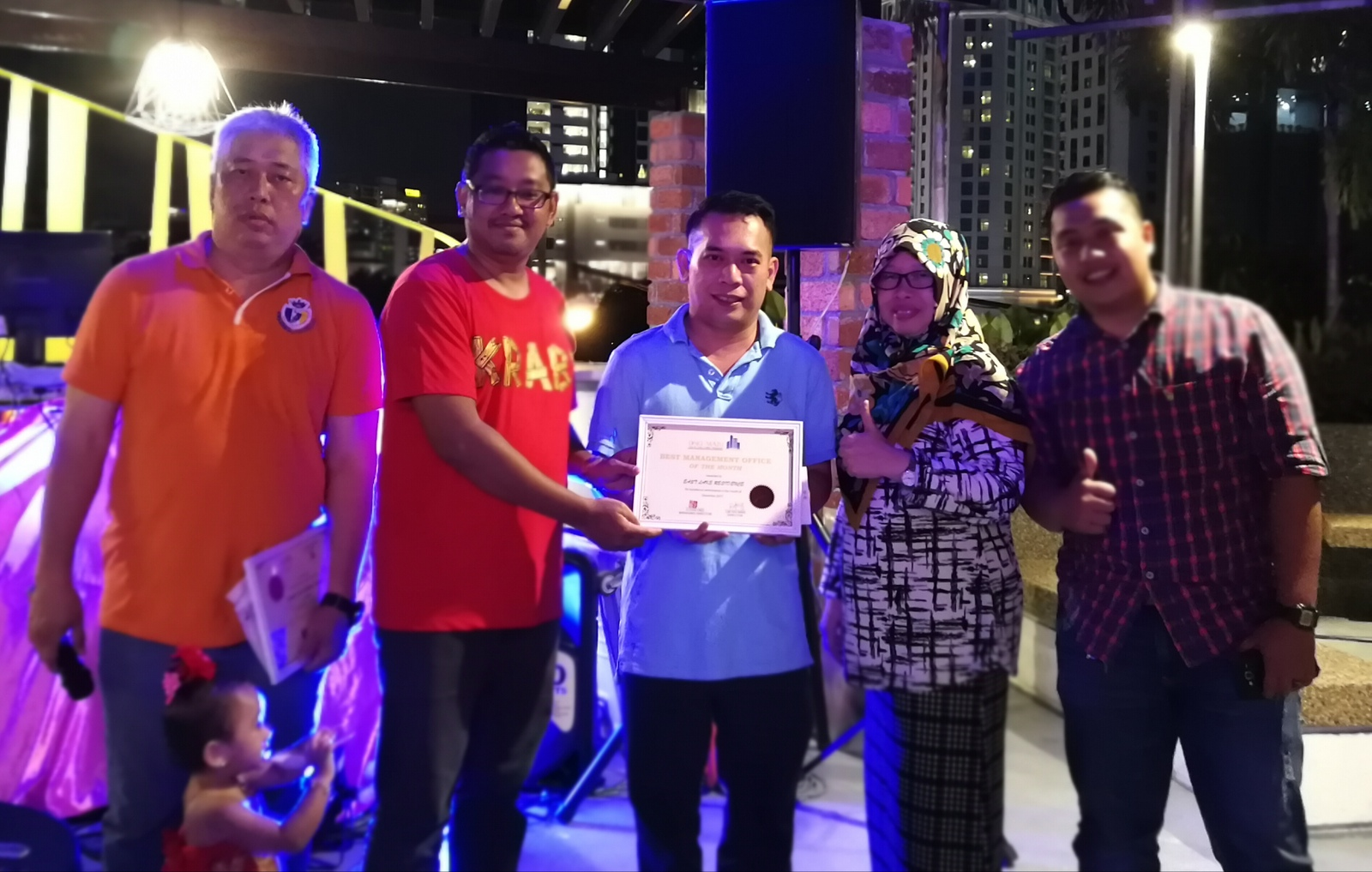 Best Performing Team for the month of December 2017 - East Lake Residence manager received reward